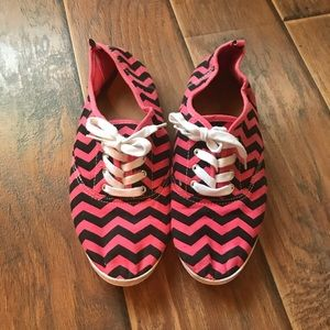 Coral & Navy Chevron Canvas Tennis Shoes